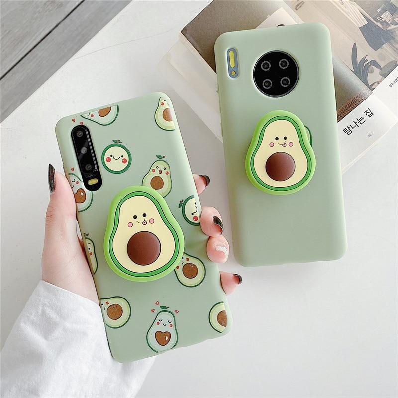 Funda de teléfono de silicona blanda con dibujo de aguacate y fruta en 3D para Huawei P40, P30, P20, Mate 20, 30, Honor 9X, 20i, Nova 7, 6, funda de regalo