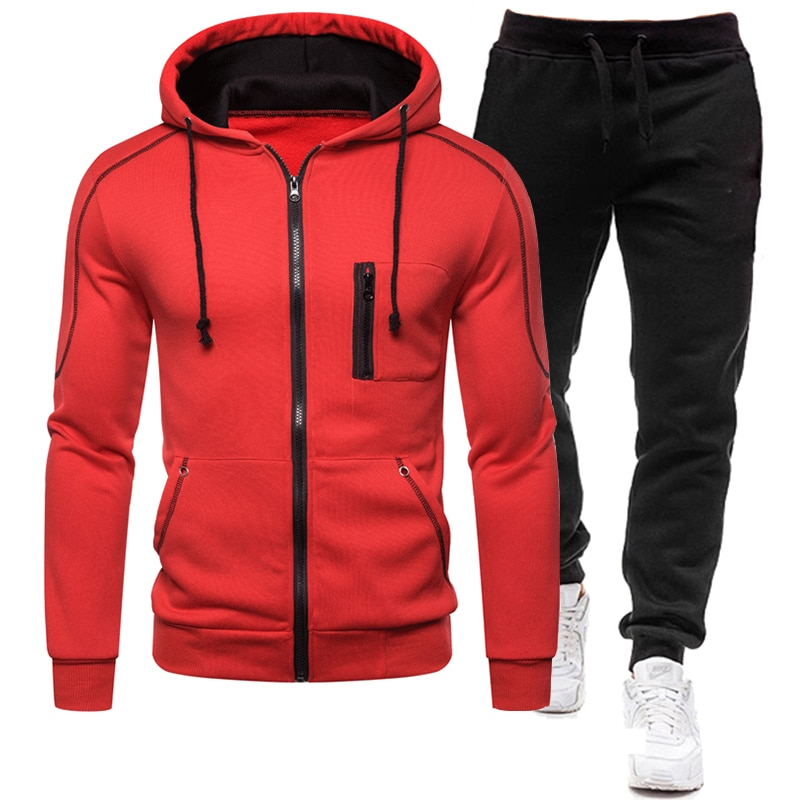 Tracksuit Men Clothing Tow Pieces Set Jacket+Pant  Track Suit Sportswear  Hooded Sweatshirts Male Sets 2020