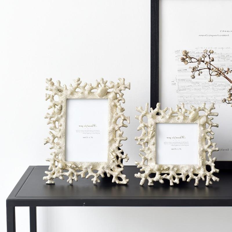 Mediterranen Stil Fotoalbum Kreative Korallen Shell Conch Harz Multifunktionale Bild Zertifikat Rahmen Desktop Dekorationen