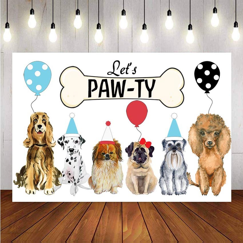 Fondo fotográfico para recién nacido Fondo Ballon pequeña huella de perro fiesta de cumpleaños niños Photo Studio Photocall foto Prop