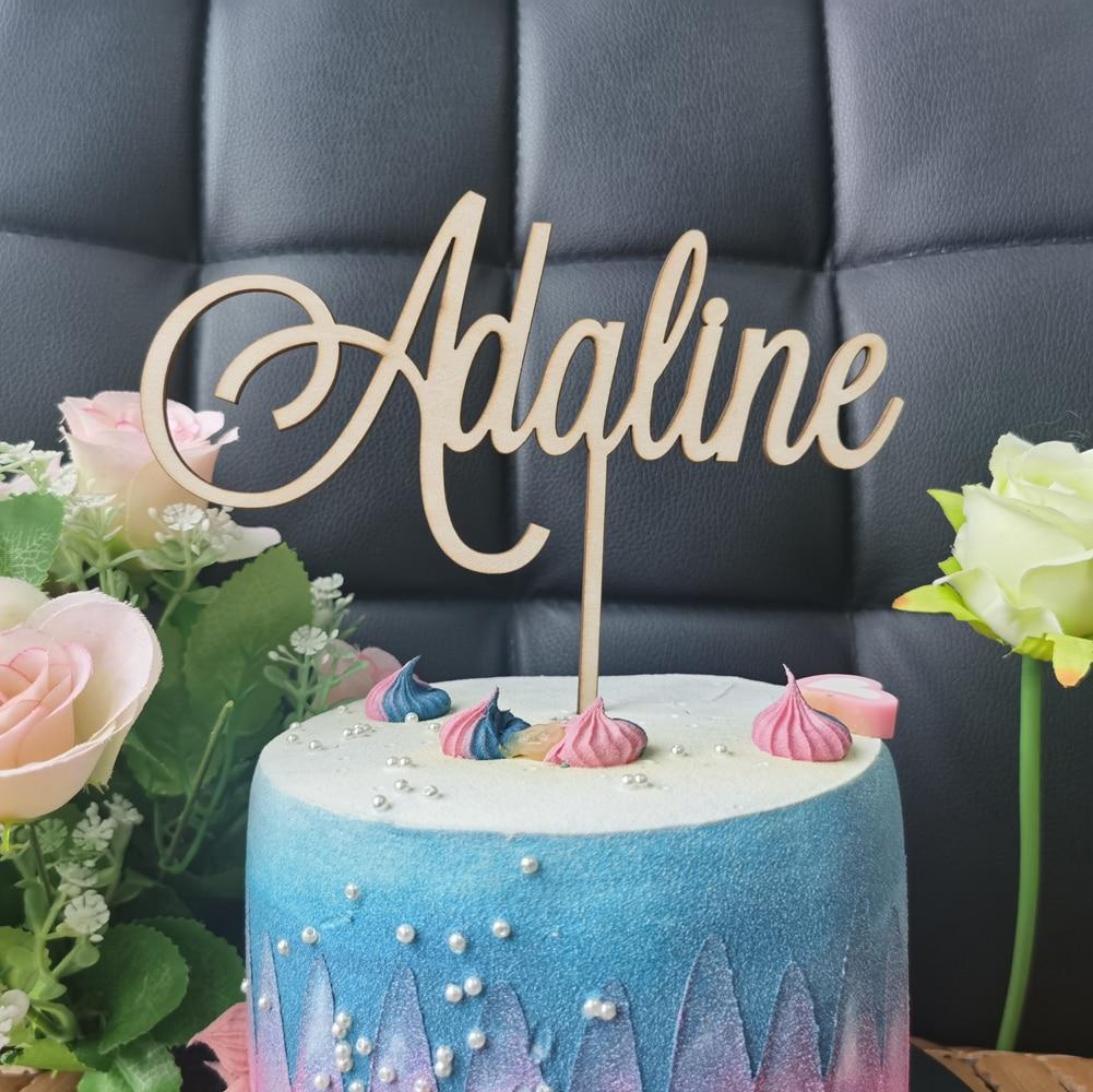 Personalisierte Name woodenAcrylic Kuchen Topper, Kunden Alles Gute Zum Geburtstag Kuchen Topper Party Dekoration Kinder Geburtstag Partei Liefert