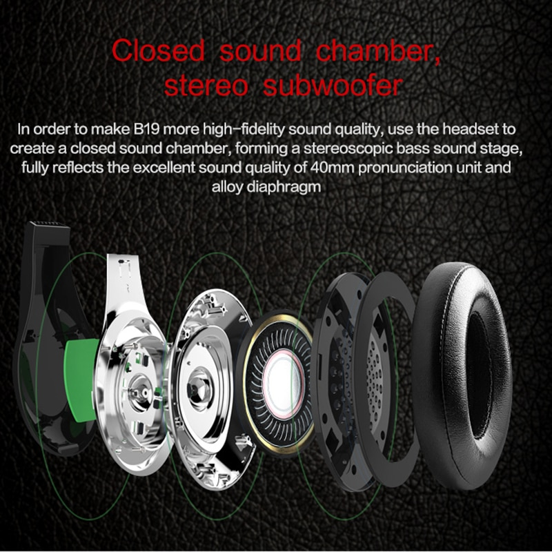 B19 Wireless Bluetooth Headphone with OLED Screen  support 32G card Protein Ear capsHeadset enlarge