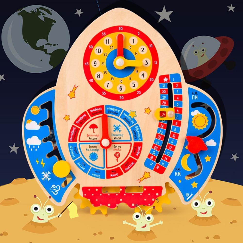Children Cartoon Rocket Clock Toy Calendar Weather Season Matching Time Game Montessori Wooden Board Cognition Educational Toys