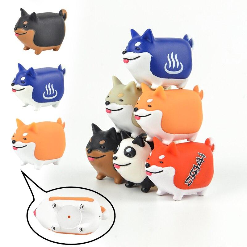 Cápsula original japonês brinquedos 6 conjuntos animais de estimação masoct bonito kawaii sorriso rir shiba inu panda spa cão gashapon figuras crianças brinquedo presente