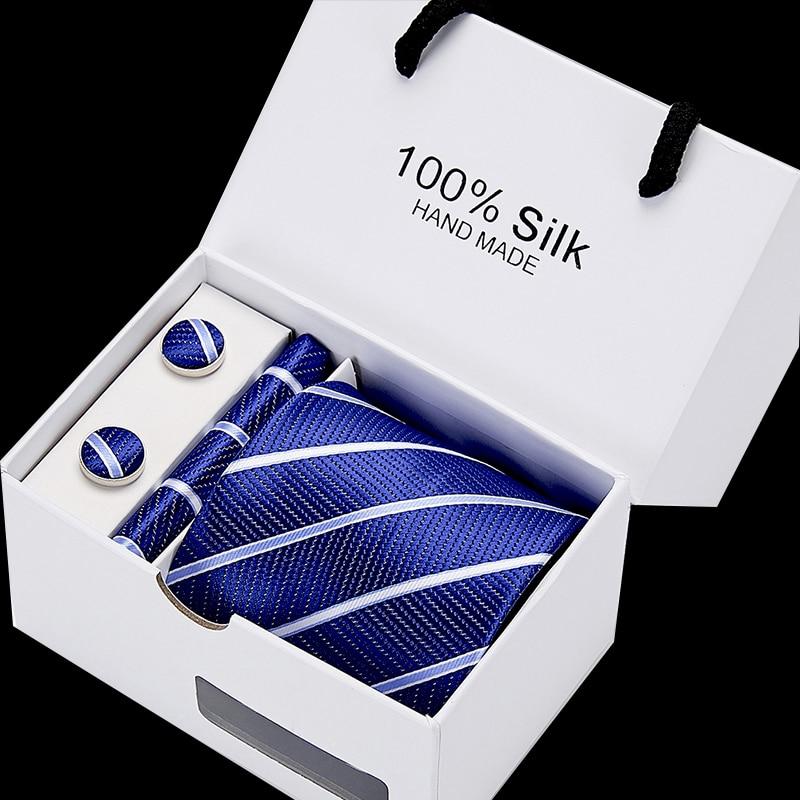 Wedding New High-Quality Mens 8cm 100% Silk Ties Gravatas Tie Set For Men Striped Neckties Gift Box Packing Bow