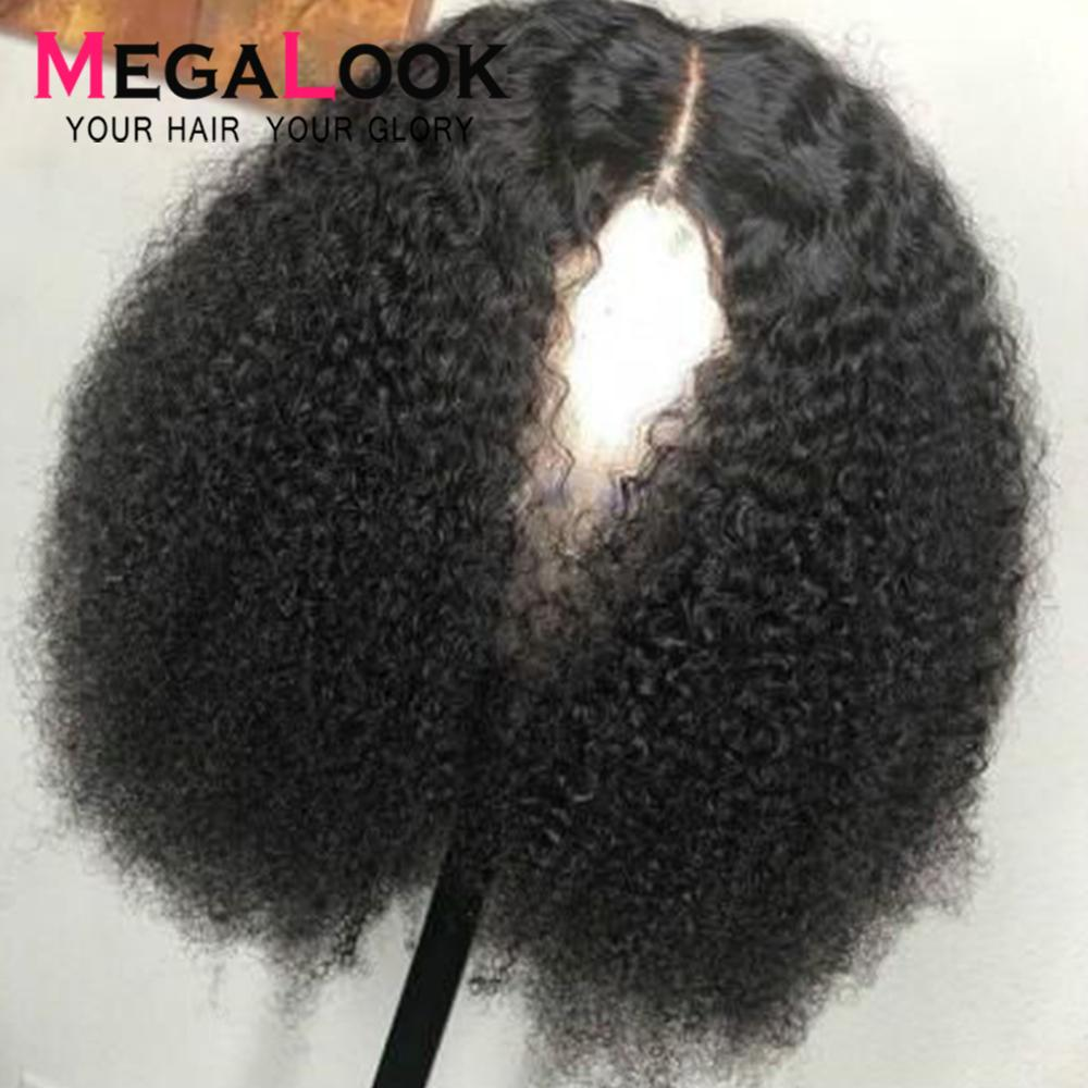 Perruque Lace Front wig 180 sans colle Remy péruvienne naturelle crépue-perruque bouclée, cheveux humains, pre-plucked