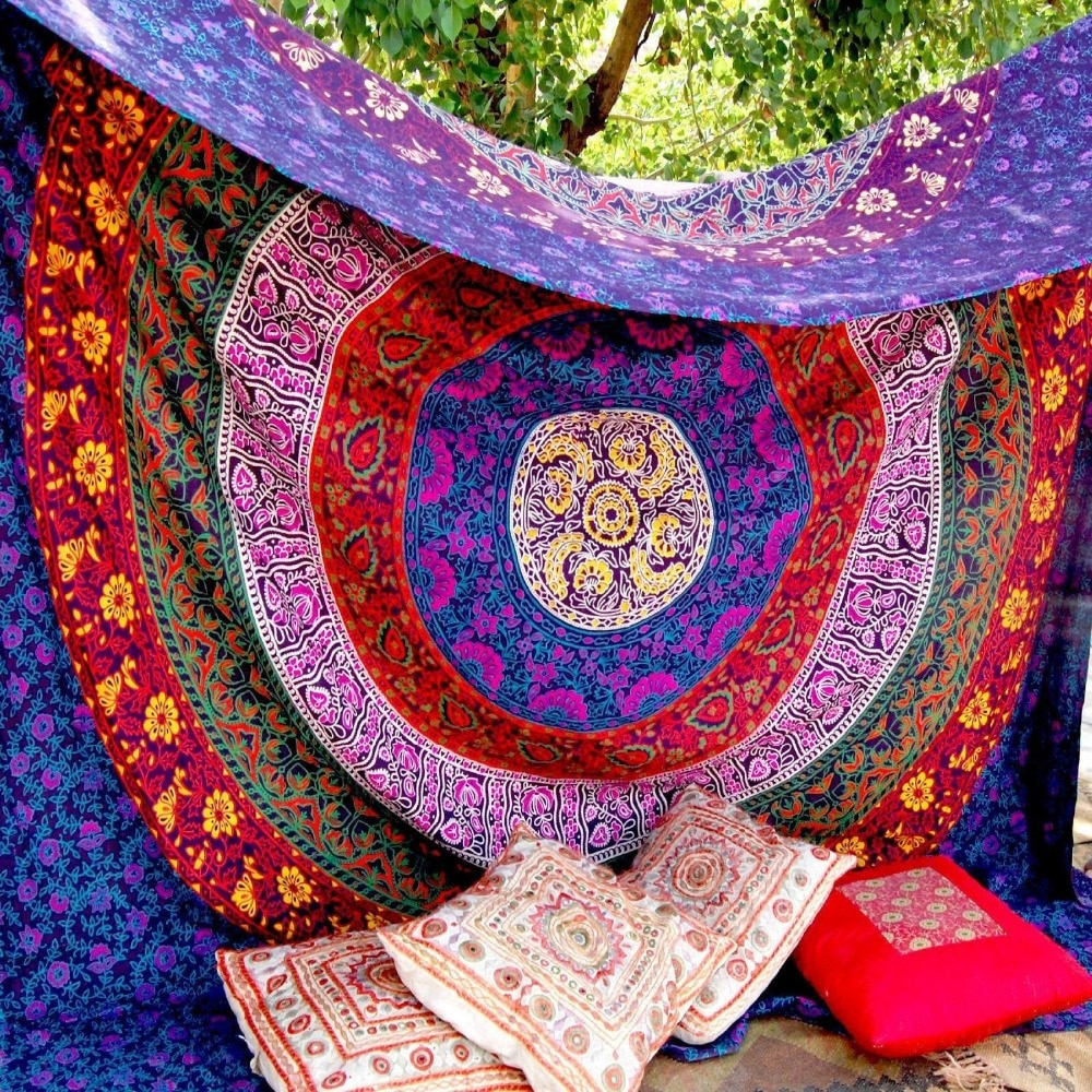 Tapiz de Mandala bohemio sin fin de color rojo 2019, tapiz para colgar en la pared, estera de Yoga impresa gobelino, mantel de mesa de decoración Biki