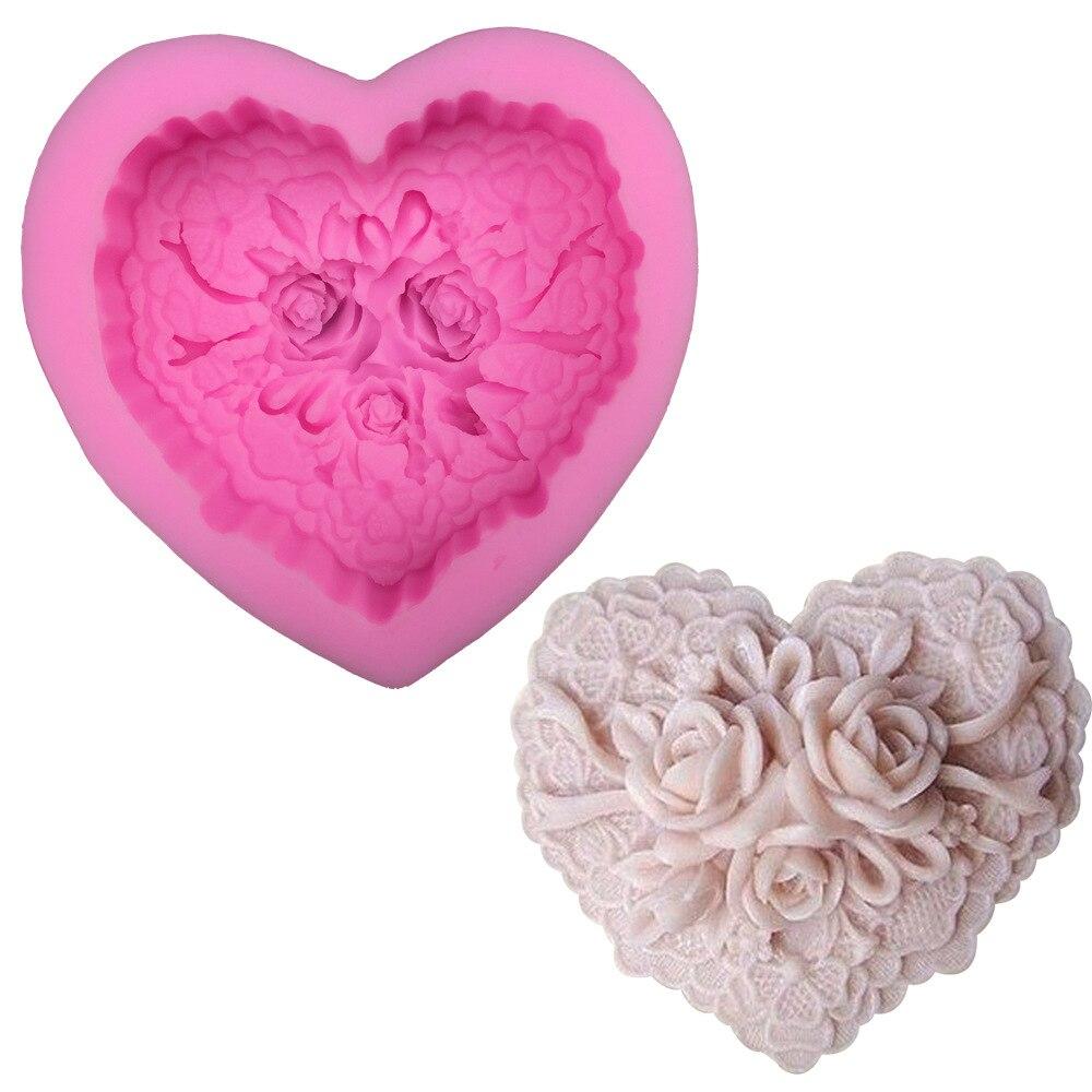 San Valentín gran flor corazón Rosa Fondant molde de silicona DIY Decoración Para horneado torta herramientas jabón hecho a mano
