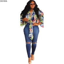 2019 neue frauen sommer Herbst V-ausschnitt blatt druck handgelenk ärmel mode krawatte up Crop tops lange blusen shirts strand tops GL5270