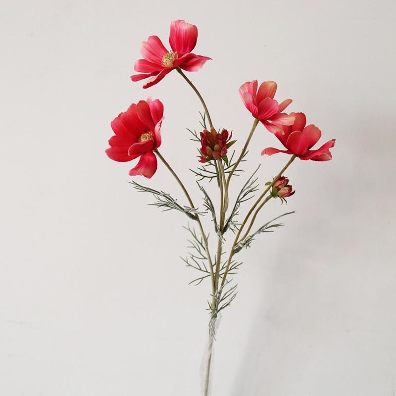 Paisaje de primavera, cosmos, Europeo, flores de simulación de alto grado, flores artificiales, plantas de simulación, decoración para fiesta de boda