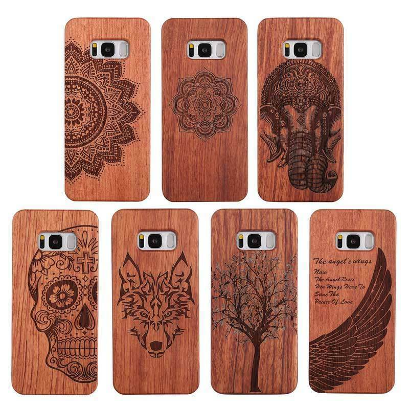 LYBALL 100% naturalnego drewna bambusa tylna pokrywa + twarde poliwęglanowe etui na telefon do Samsung Galaxy S8 + S9 Plus S10 Plus uwaga 8 uwaga 9