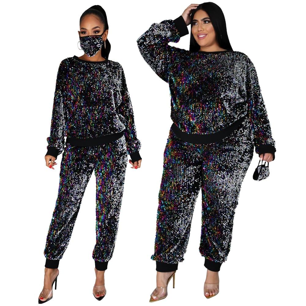 Женская одежда с бесплатной доставкой, пуловер, топы, вечерние брючные костюмы с блестками, Комбинезоны для ночного клуба