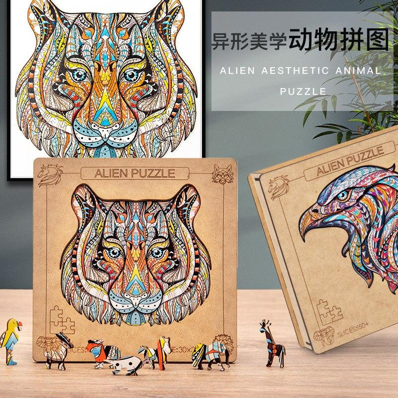 فريدة من نوعها خشبية لغز الحيوان بانوراما الألغاز الذئب النمر الألغاز هدية للبالغين أطفال التعليمية لغز هدية لعبة تفاعلية