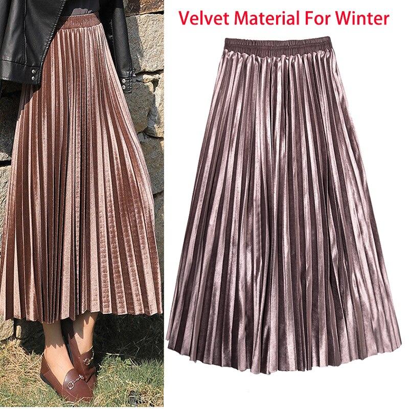 الشتاء الخريف المرأة مطوي تنورة المخملية طباعة عالية الخصر التنانير الطويلة النساء فتاة شابة سميكة كبيرة الحجم Fahion الإناث Falda