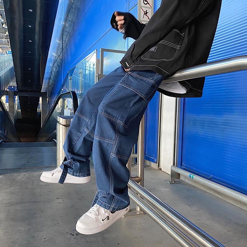 S-5XL Plus Size Men Wide Leg Jeans Mens 2021 Autumn Spring Hip Hop Streetwear New Loose Straight Baggy Denim Pants Male Brand