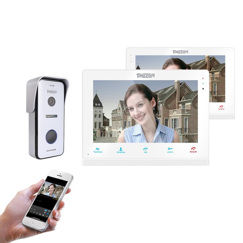TMEZON беспроводной/Wifi умный IP видео дверной звонок Домофон, 10 дюймов + 7 дюймов экран монитор с 1x720P проводной дверной телефон камера