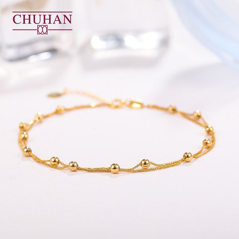 Review CHUHAN 18K Rose Gold Gypsophila Bracelet Au750 Real Gold Sweet Fashion Jewelry For Women Fine Party Gift Jewelry Free shipping