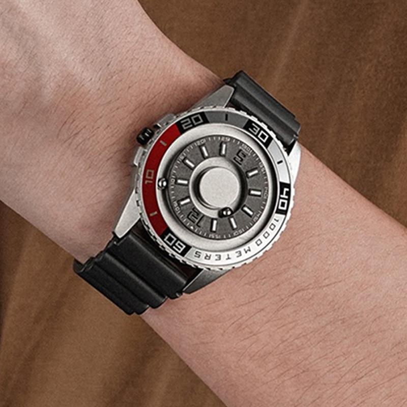 EUTOUR-ساعة رجالية مغناطيسية متعددة الوظائف ، تصميم جديد ، كرونوغراف رياضي ، كوارتز ، قرص إبداعي ، مع خرز معدني