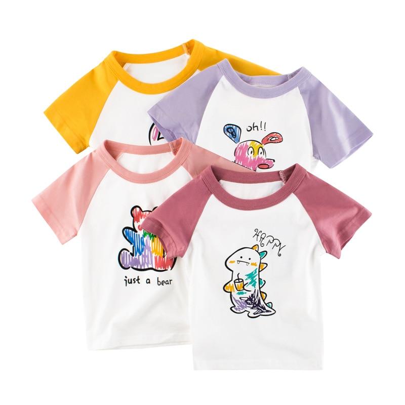 Girls T-Shirts Kids Children Tee Boys Infant Tops Clothing Clothes Short Sleeves Summer Print Cartoon Cotton T shirts New 2021