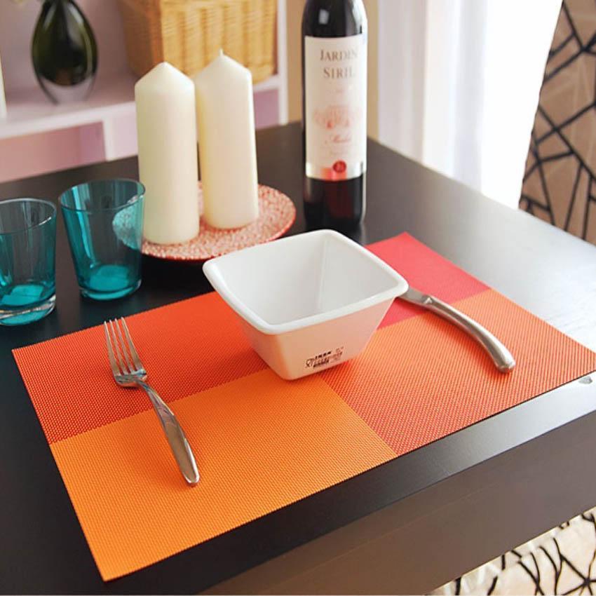 42 4 unids/set manteles estera de mesa de PVC Color bloque comedor...