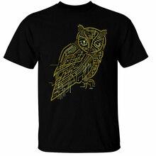 Elektrische Eule T-Shirt Herren Sommer Stil Casual Wear T Hemd