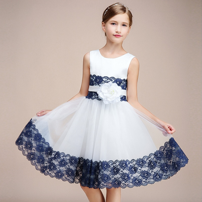 champagne kids girl formal party dress long tulle communion princess gowns flower girl dresses for wedding birthday Party Formal Dress For Kids Girl Short White Navy Lace Birthday Communion Princess Gowns Flower Girl Dresses For Wedding