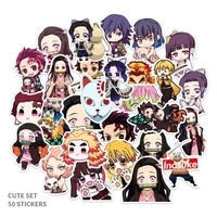 50pcs anime demon slayer kimetsu no yaiba nezuko zenitsu stickers waterproof pvc skateboard luggage guitar sticker cosplay props