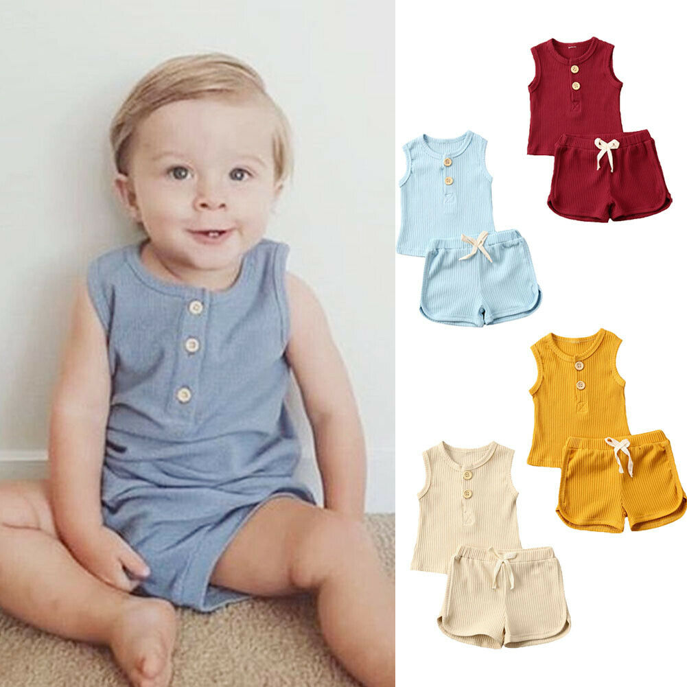 AA 2020 Newborn Toddler Baby Boy Girl Clothes Summer Outfit Clothes Vest Top T-shirt Shorts Knitted Sleeveless Sets