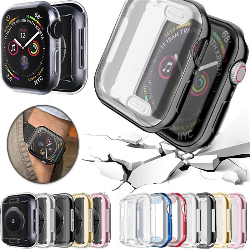 watch cover case for apple watch 6 5 4 3 2 1 se 44mm 42mm 40mm 38mm colorful screen full protector shell for iwatch watch case 360 Slim Watch Cover for Apple Watch Case 6 SE 5 4 3 2 1 42MM 38MM Soft Clear TPU Screen Protector for iWatch 4 3 44MM 40MM