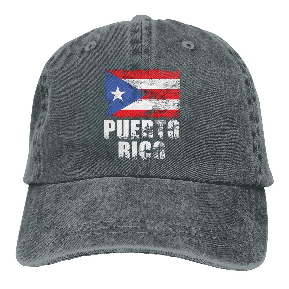 Gorra de béisbol lavada de bajo perfil Unisex con bandera de Puerto Rico desgastada gorra de papá ajustable
