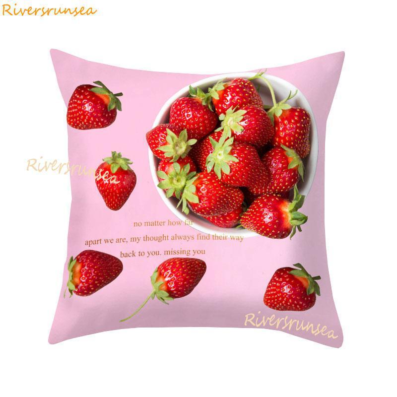 Linda funda de almohada rosada rosa pastel helado flor cojín funda de fresa Cactus piña para regalo de niñas