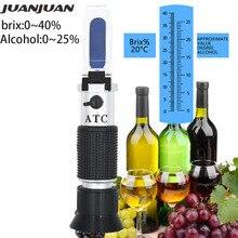 El refraktometre şarap meyve tatlılık ölçer Brix 0-40% alkolometre 0-25% ATC 31% ile kapalı