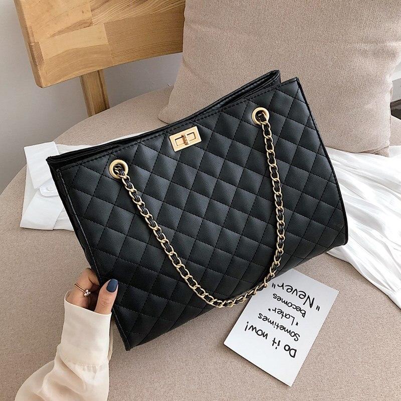 أسود كبير حمل الحقائب ل سلسلة نسائية حقيبة كروسبودي الماس شعرية حقيبة كتف الإناث جلد كبير منقوشة المتسوق حقائب كيس