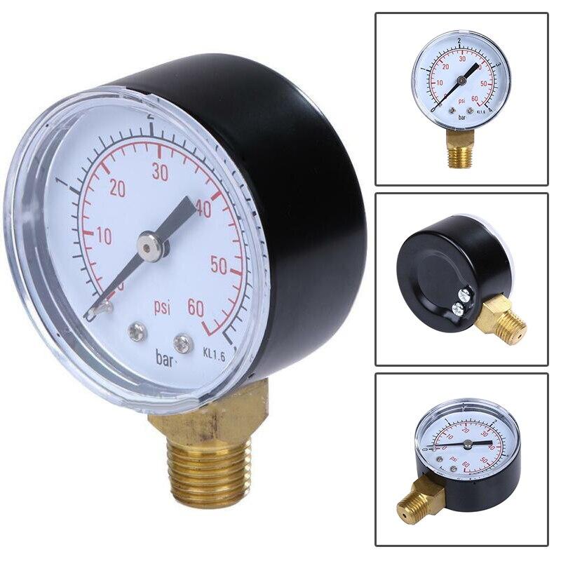"""Filtro de Spa de piscina medidor de presión de agua 0-60PSI Montaje Lateral 1/4 """"pulgadas tubos de rosca"""