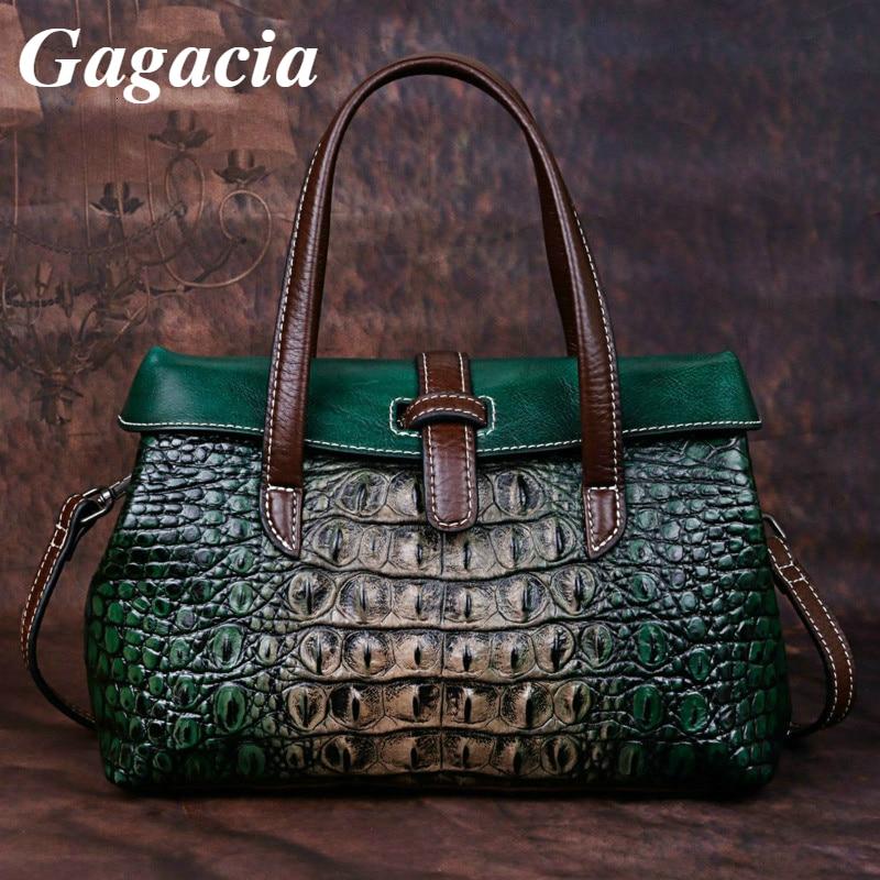 GAGACIA جديد جلد طبيعي ريترو حقائب النساء الفاخرة للإناث اليدوية حقيبة كتف التمساح شخصية حقائب النساء 2021