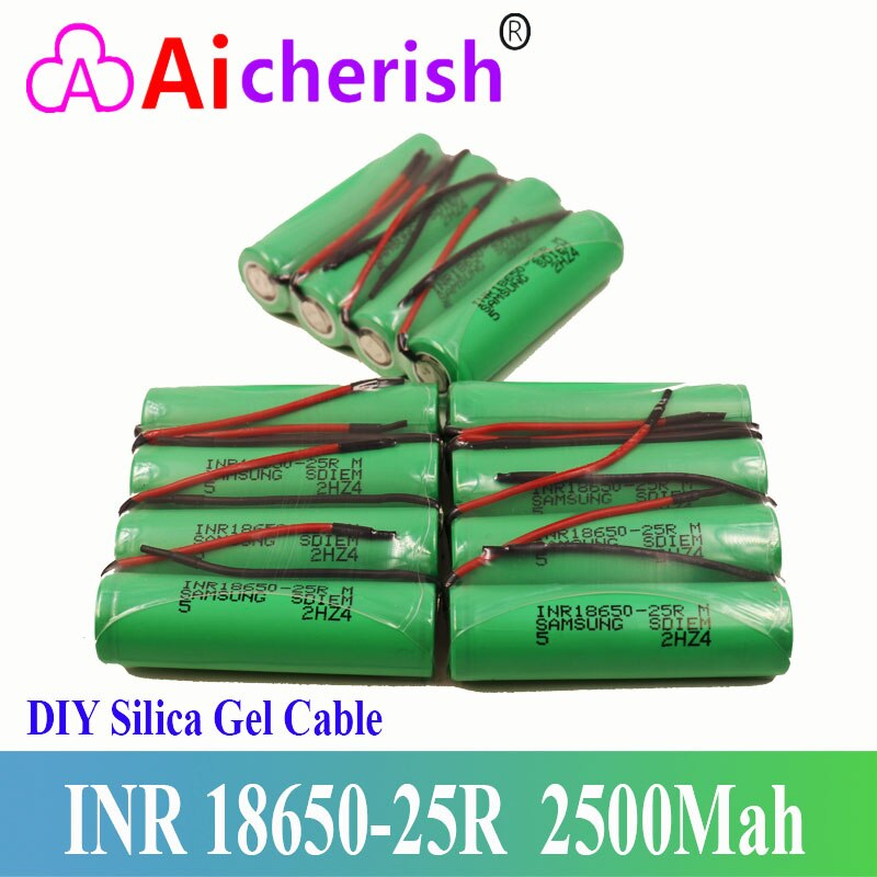 New Original 18650 Lithium Ion Rechargeable 3.6V 2500Mah Battery 25R + DIY Silica Gel Cable environmental original mindray li24i002a 5800mah 14 8v rechargeable lithium ion battery