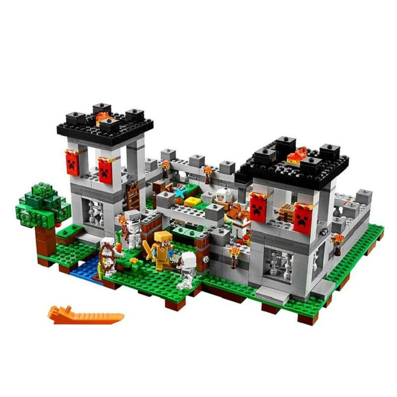 Los bloques de construcción de la fortaleza con la armadura Steve figuras de acción compatibles con mi mundo MinecraftINGlys juegos de juguetes para niños 21127