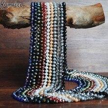 Yumfeel mode bohème bijoux 8mm cristal Long noué à la main verre cristal collier femmes rouge bleu noir or argent 11 couleurs