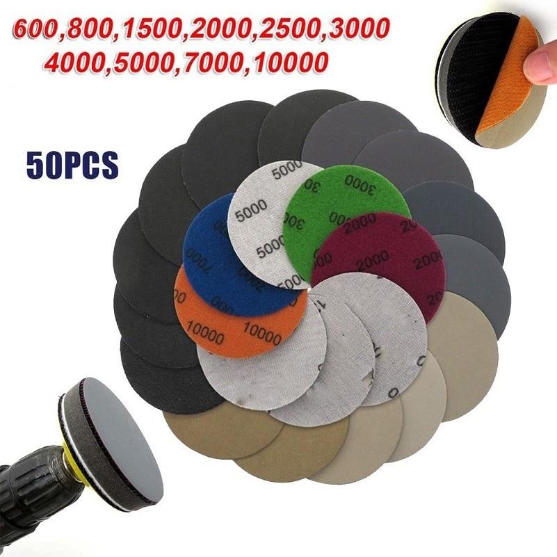 50 шт., 3-дюймовые шлифовальные диски для влажной и сухой шлифовки, наждачная бумага, наждачные подушки с крючком и петлей, зернистость 600-10000, п...