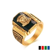 new fashion vintage gold metal black blue red crystal ring 1973 walton tigers navy signet rings for men charm luxury jewelry
