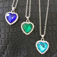 big crystal heart pendant necklace for women full rhinestone chain collar titanic heart of ocean blue heart love forever jewelry
