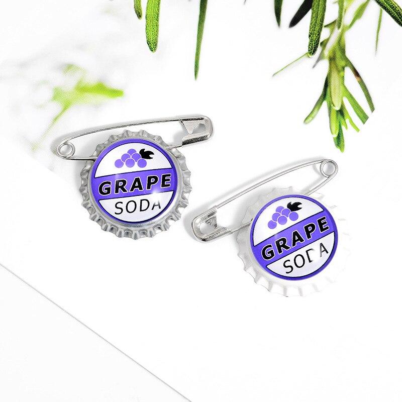 Moda europea y americana explosión uva Soda tapa de botella de papel Clip broche Ins marea creativo Clip de papel mochila Collar Pin