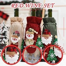 Red Wine Bag Bottle Cover Set Home Christmas Table Decoration Xmas Eve Party Supplies Holiday Decor