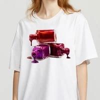 women summer clothing 3d nail polish printed female tshirt cute printed top female harajuku graphic o neck aesthetics t shirt