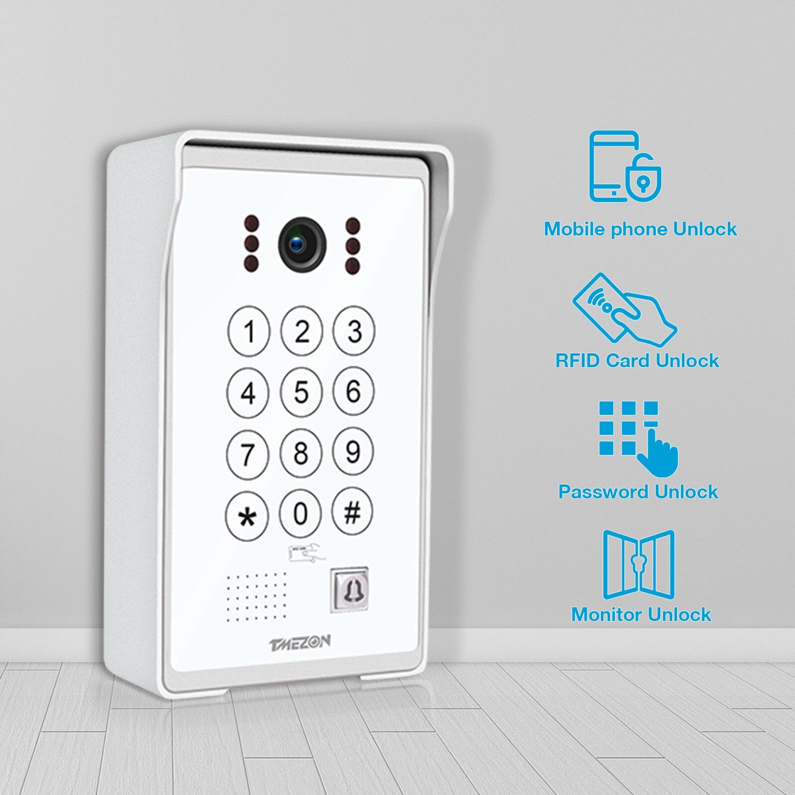 TUYA APP TMEZON 7 Inch 960P Video Door Phone Intercom System with Wired Doorbell Camera, APP AND monitor Unlock,Code Keypad RFID enlarge