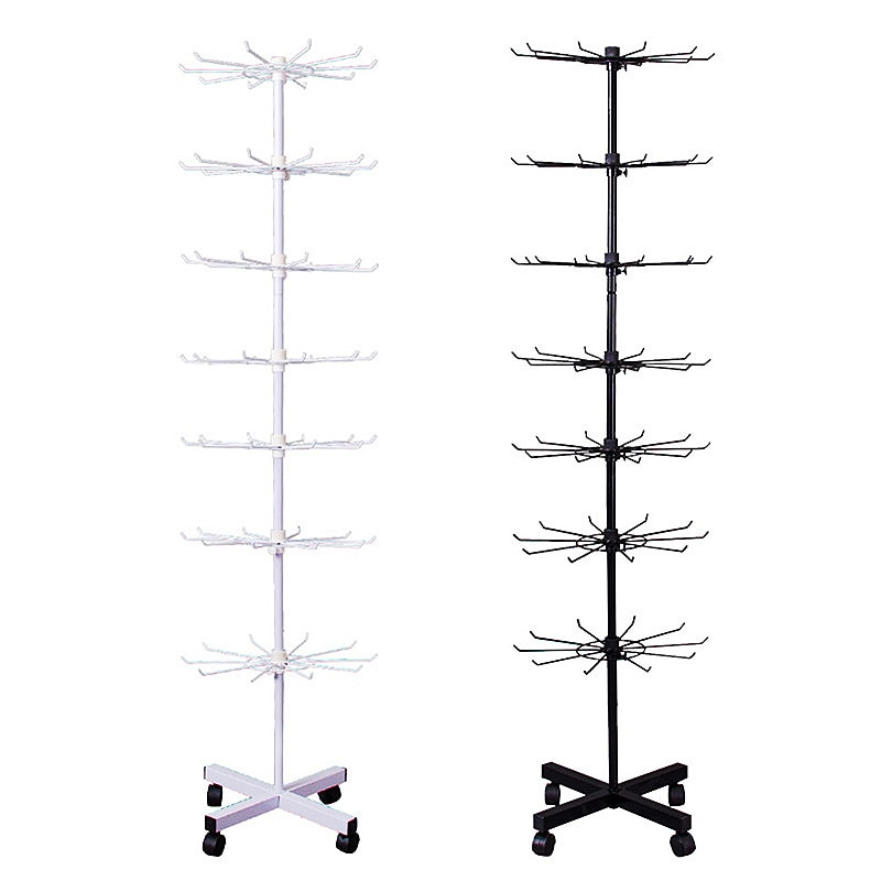 Metal Hanging Shelf Hook Display Holder Stand for Small Commodity Accessories with 4 Pulleys H160cm 1 Set