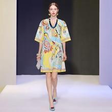 Delocah Summer Women Fashion Runway Plus Size Midi Dress Half Sleeve Vintage Printed Loose Female Straight Dresses vestidos 2020