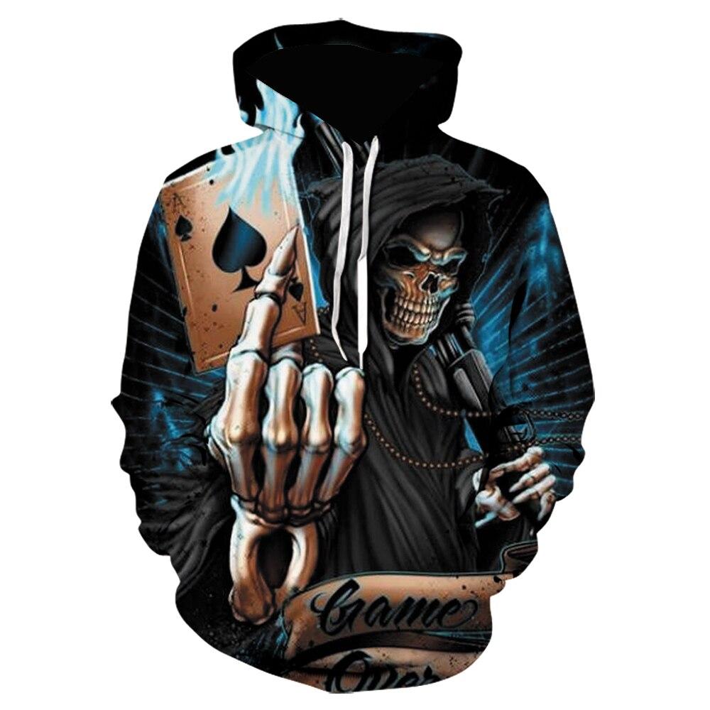 Harajuku impressão 3d crânio de poker hoodies hip hop streetwear moletom com capuz moletom masculino horror pulôver preto hoodie lil peep