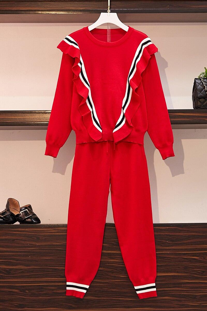 Женский Осенний топ с оборками и вязаные укороченные брюки