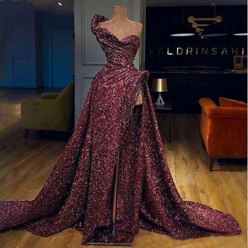 Vestidos de baile 2020 longo sereia luxo sequined para as mulheres querida formal noite vestidos de festa sem mangas plus size split